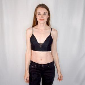 Tori Praver Swimwear Onyx Black Bikini Top Plunge